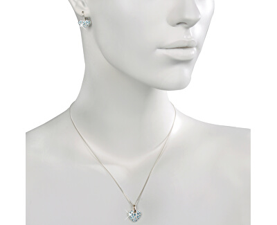 Set šperků Srdíčko Aquamarine 34115 (náušnice, řetízek, přívěsek)