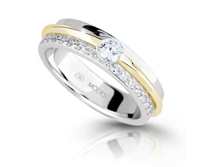 Bicolor strieborný prsteň so zirkónmi M16023