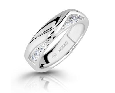Módne strieborný prsteň so zirkónmi M16026