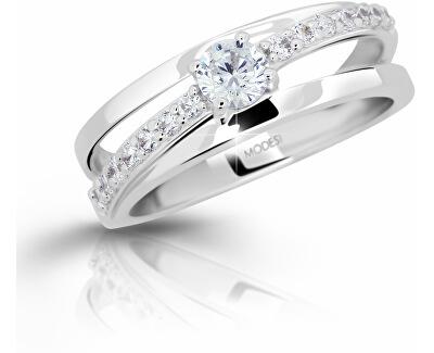 Stříbrný prsten se zirkony M11105