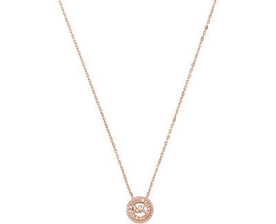 Třpytivý bronzový náhrdelník se zirkony MKC1388AN791