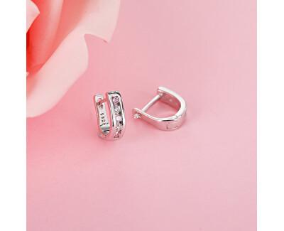Elegantní stříbrné náušnice s čirými a růžovými zirkony E0000176