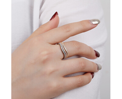 Elegantní tricolor sada stříbrných prstenů se zirkony R00020