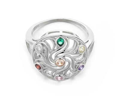 Hravý stříbrný prsten s barevnými zirkony R00021