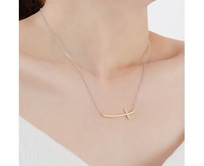 Jemný bicolor náhrdelník křízek N0000487