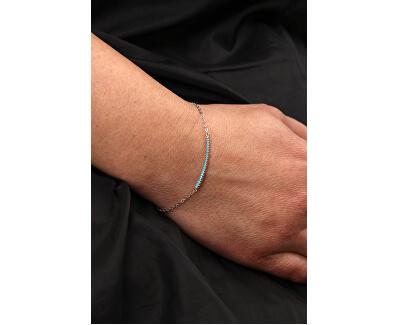 Jemný stříbrný náramek s modrými zirkony B0000441