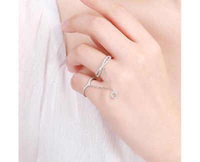 Luxusní dvojitý prsten ze stříbra se zirkony R00022