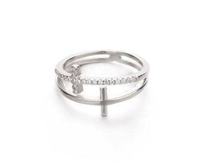 Luxusní dvojitý stříbrný prsten s křížky R00020
