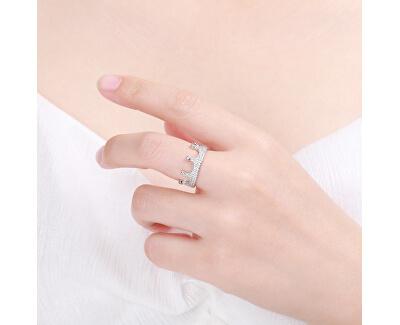 Luxusní stříbrný prsten se zirkony Královská korunka R00021