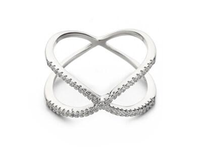 Minimalistický dvojitý prsten ze stříbra se zirkony R00021