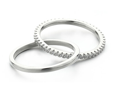 Nadčasový dvojitý prsten se zirkony R000211
