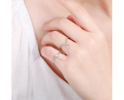 Netradiční dvojitý prsten ze stříbra se zirkony R00022