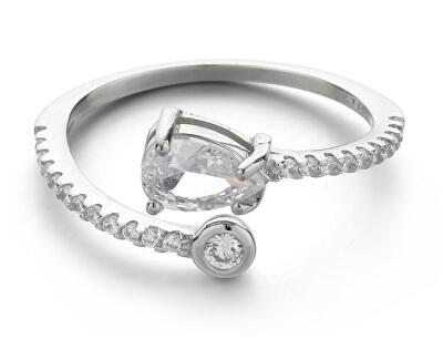 Něžný stříbrný prsten se zirkony R000188