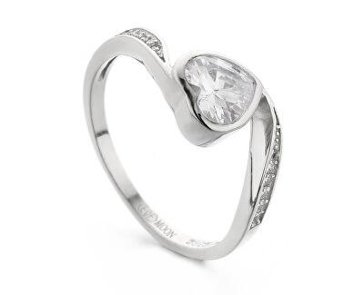 Něžný stříbrný prsten se zirkony Srdíčko R00021