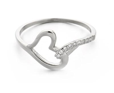 Okouzlující stříbrný prsten se zirkony Srdce R00019