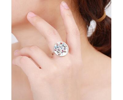 Originální stříbrný prsten s barevnými zirkony R00021
