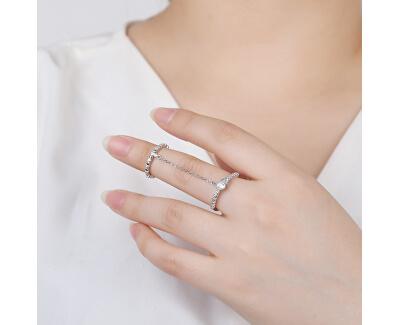 Půvabný dvojitý prsten ze stříbra se zirkony R00022