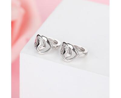 Romantické stříbrné náušnice se srdíčky E0000162
