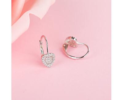 Romantické stříbrné náušnice se zirkony srdíčka E0000560