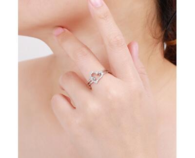 Romantický stříbrný prsten se zirkony Srdce R000210