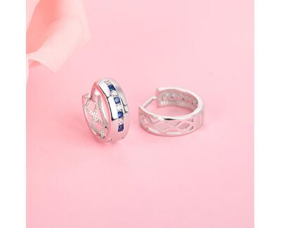 Stříbrné kruhové náušnice s barevnými zirkony E0000413