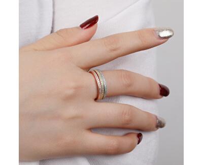 Tricolor sada stříbrných prstenů se zirkony R00020