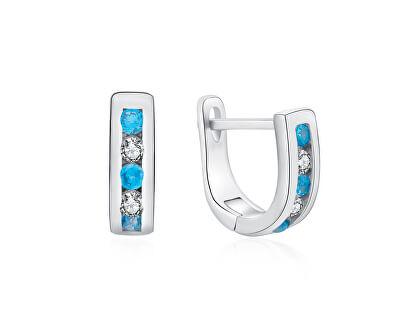 Elegantní stříbrné náušnice s čirými a světle modrými zirkony E0000179
