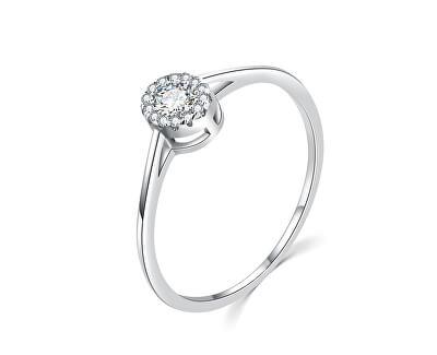 Luxusní stříbrný prsten s čirými zirkony R00020
