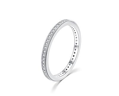 Minimalistický stříbrný prsten se zirkony R00020