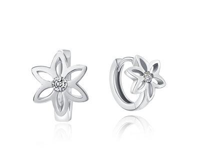 Něžné stříbrné náušnice s květinami E0000140