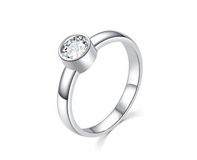 Půvabný stříbrný prsten s čirým zirkonem R00020
