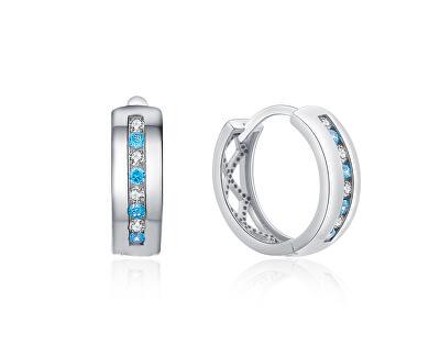 Stříbrné kruhové náušnice s barevnými zirkony E0000412