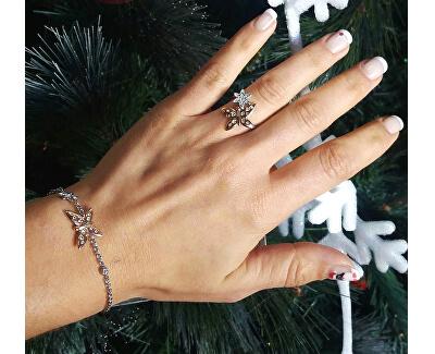 Inel din oțel bicolor cu fluture Natura SAHL06