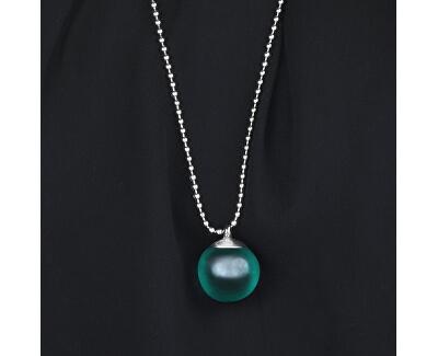 Ocelový náhrdelník se zeleným přívěskem Boule SALY12 (řetízek, přívěsek)