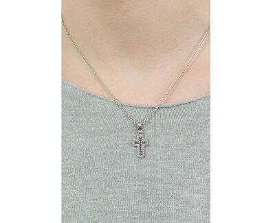 Colier din oțel pentru bărbați cu cruce și cristale Motown SAEV11