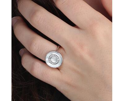 Stříbrný prsten s perletí a krystaly Perfetta SALX09