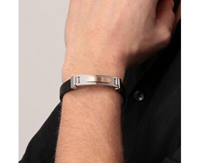 Kožený náramek s ocelovou ozdobou Moody SQH28