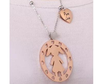 Oceľový bicolor náhrdelník Girl talizmanov SAQE01