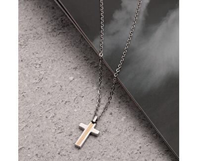 Pánský ocelový náhrdelník s křížkem Motown SALS44