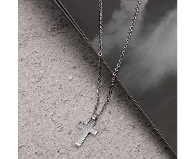 Pánský ocelový náhrdelník s křížkem Motown SALS45