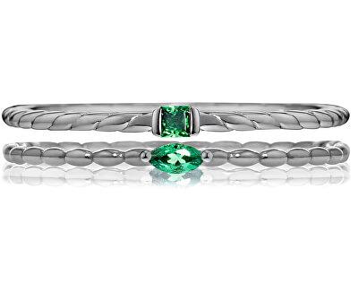 Sada vrstvených prsteňov so zelenými kryštály 1930 SAHA18