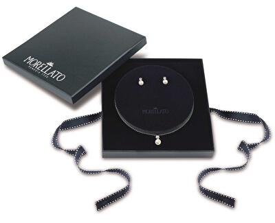 Strieborná sada šperkov s perlami Perla essenziale SANH09 (náušnice, retiazka, prívesok)