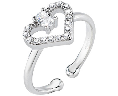 Strieborný nastaviteľný prsteň so srdiečkom Cuori SAIV09