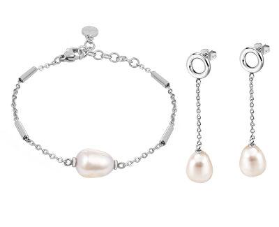 Zvýhodněná ocelová sada šperků s pravými perlami Oriente SARI12, SARI14 (náramek, náušnice)