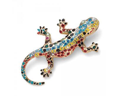 Pozlátená brošňa s kryštálmi Gaudí Drac 58045G