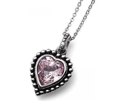Colier romantic cu un cristal roz Beach Antique Heart 11731 212