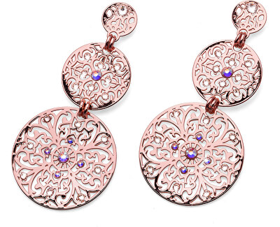 Ružovo pozlátené náušnice s kryštálmi Orient 22777RG