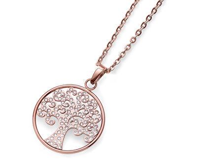 Ružovo pozlátený náhrdelník s kryštálmi Tree 11973RG