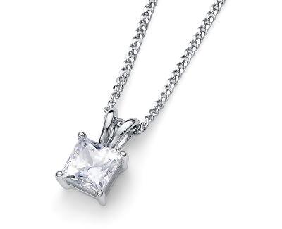 Strieborný náhrdelník s kryštálom Catch 61142 WHI (retiazka, prívesok)