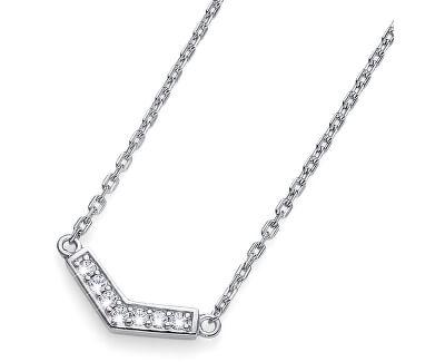 Strieborný náhrdelník s kryštálmi Bend 61145